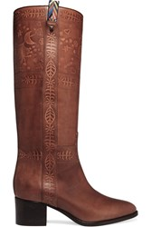 Valentino Embossed Leather Knee Boots Tan