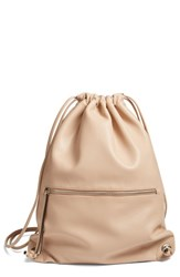 Phase 3 Faux Leather Sling Backpack Brown Tan Stucco