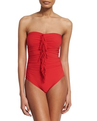 Karla Colletto Fringe Front Bandeau One Piece Swimsuit Red