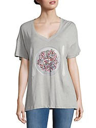 Wildfox Couture Graphic Print Drop Shoulder Tee Grey