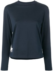 Thom Browne Long Sleeve Relaxed Fit Jersey Tee Blue