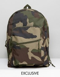 Reclaimed Vintage Camo Backpack In Green Green