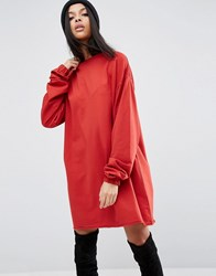 Asos Sweat Dress With Extra Long Sleeve Detail Red
