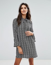 Goldie Janey Striped Leaf Printed Shift Dress With Bell Sleeves And Neck Tie Multi