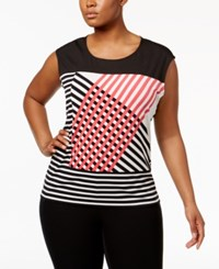 Calvin Klein Plus Size Striped Top Watermelon Combo