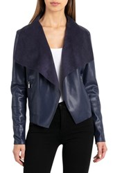 Bagatelle Drape Faux Leather And Faux Suede Jacket Midnight
