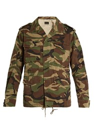 Saint Laurent Love Applique Camouflage Print Military Jacket Green