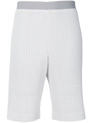 Homme Plisse Issey Miyake Embroidered Shorts Men Polyester M White