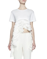 Haider Ackermann Ruffled Asymmetric Hem Cotton Tee White Size 48