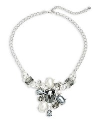 Kenneth Jay Lane Faceted Stone And Faux Pearl Statement Necklace
