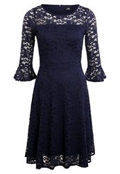 Wallis Flute Sleeve Lace Cocktail Dress Party Dress Ink Dark Blue
