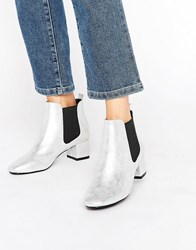 Raid Aimee Silver Mid Heeled Ankle Boots Silver
