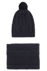Chinti And Parker Cable Knit Merino Wool Scarf Beanie Set Navy