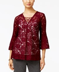 Eci Lace Peasant Blouse Burgundy