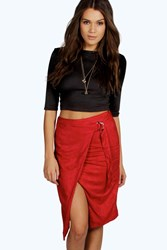 Boohoo Wrap Front D Ring Belted Suedette Skirt Wine