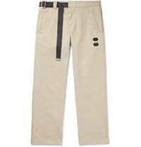 Off White Belted Logo Trimmed Cotton Twill Chinos Beige