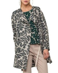 Akris Punto Tropical Leave Jacquard Hidden Zip Coat Sand