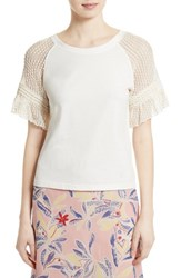 See By Chloe Women's Lace Sleeve Tee