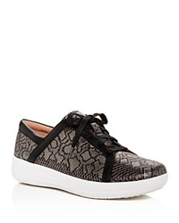 Fitflop F Sporty Ii Python Embossed Leather Platform Lace Up Sneakers Black
