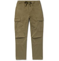 Officine Generale Jay Slim Fit Tapered Cotton Blend Cargo Trousers Green