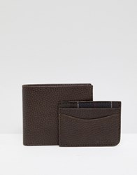 Barbour Grain Leather Wallet And Card Holder Gift Set In Brown
