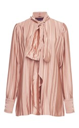 Martin Grant Bow Tie Long Sleeve Blouse Pink