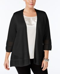 Jm Collection Plus Size Open Knit Cardigan Only At Macy's Deep Black