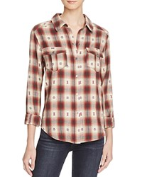 Paige Mya Plaid Shirt Dusty Brown Scarlet