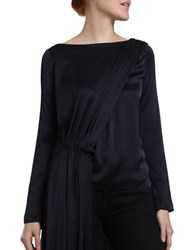 Katharine Kidd Sia Long Sleeve Boatneck Tunic With Back Cape Blue