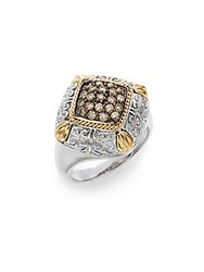 Effy 925 Brown Diamond Sterling Silver And 18K Yellow Ring Silver Brown