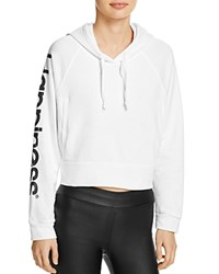 Happiness Crop Hoodie White
