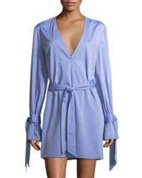 C Meo Collective Unstoppable Tie Detail Mini Shirt Dress Blue