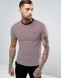 Fred Perry Fine Stripe T Shirt In Red Rosewood