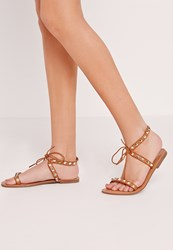 Missguided Studded Barely There Flat Sandals Tan Brown