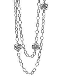 Sterling Silver Love Knot Station Necklace 34' Lagos