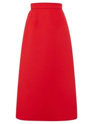 Dolce And Gabbana Wool Midi Skirt Red