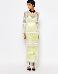 Self Portrait Lace Art Deco Dress With Bell Sleeves White