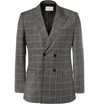 Sandro Grey Slim Fit Double Breasted Checked Virgin Wool Blazer Gray