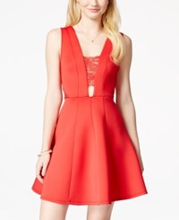Material Girl Juniors' Illusion Lace Skater Dress Only At Macy's Lipstick Red