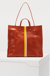 Clare V. Simple Tote Sienna Rustic W Yellow And Blush Desert Stripes