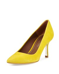 Donald J Pliner Treva Suede Pointed Toe Pump Mustard Yellow
