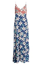 O'neill Greta Floral Print Maxi Dress Estate Blue