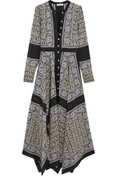Altuzarra Winne Asymmetric Paisley Print Silk Maxi Dress Black
