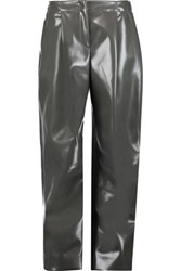 Acne Studios Selah Glossed Faux Leather Wide Leg Pants Charcoal