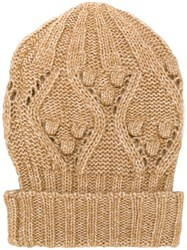 Twin Set Cable Knit Beanie Nude And Neutrals