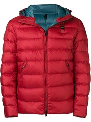 Blauer Logo Plaque Padded Coat Red