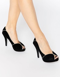 Little Mistress Peep Toe Heeled Shoes Black