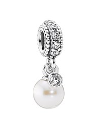 Pandora Design Pandora Dangle Charm Sterling Silver Cultured Freshwater Pearl And Cubic Zirconia Luminous Elegance Moments Collection