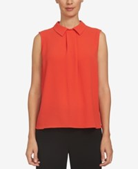 Cece Pleated Collared Shell Fiery Red