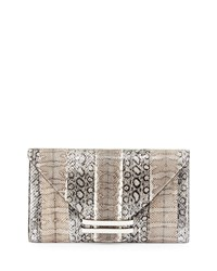 Connor 28 Snake And Ostrich Clutch Bag Silver Multi Vbh